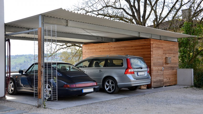 doppelcarport mit abstellraum und holzverkleidung medam gmbh. Black Bedroom Furniture Sets. Home Design Ideas