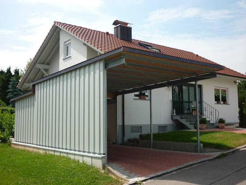 carport aus verzinktem stahl mit trapezblech dach und wandelementen medam gmbh. Black Bedroom Furniture Sets. Home Design Ideas