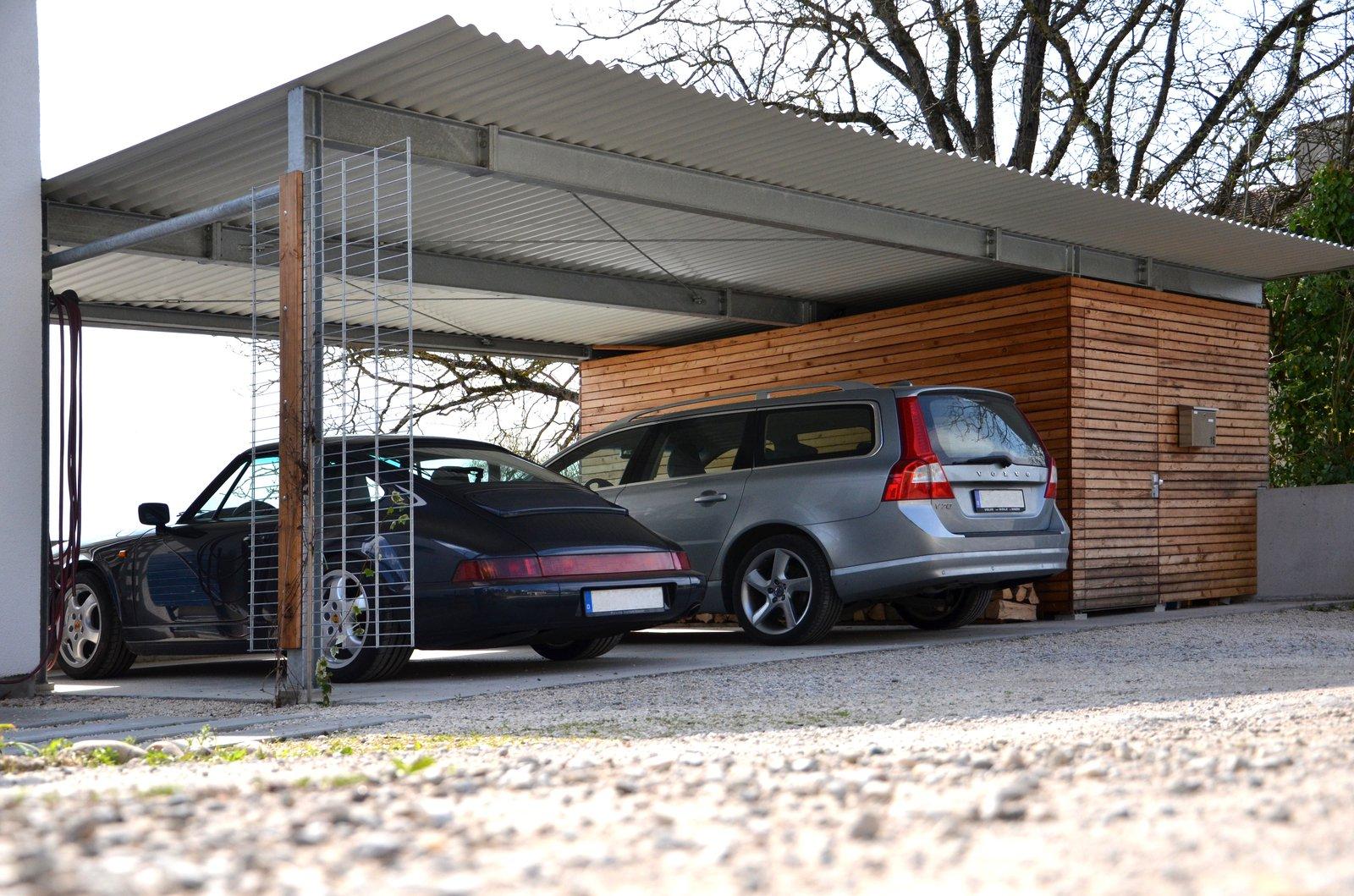 Doppelcarport mit Abstellraum und Holzverkleidung | Medam GmbH